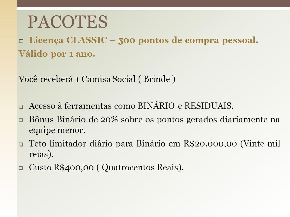  Licença CLASSIC – 500 pontos de compra pessoal. Válido por 1 ano. Você receberá 1 Camisa Social ( Brinde )  Acesso à ferramentas como BINÁRIO e RES