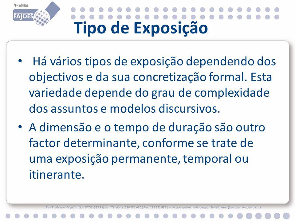 Tipo de Exposição Há vários tipos de exposição dependendo dos objectivos e da sua concretização formal. Esta variedade depende do grau de complexidade