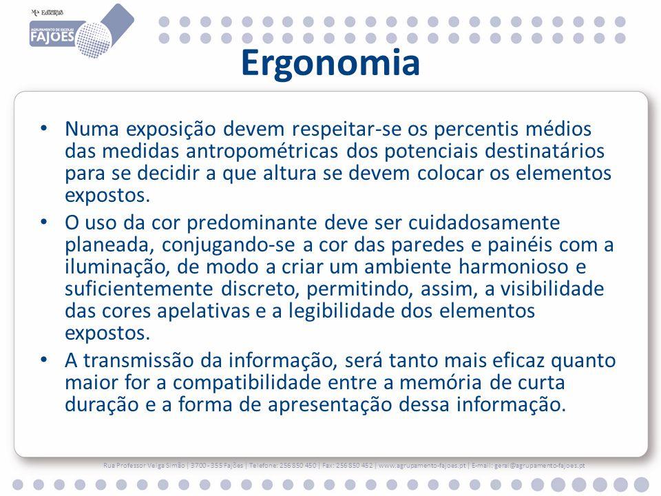 Ergonomia Numa exposição devem respeitar-se os percentis médios das medidas antropométricas dos potenciais destinatários para se decidir a que altura se devem colocar os elementos expostos.