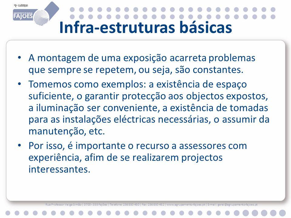 Infra-estruturas básicas A montagem de uma exposição acarreta problemas que sempre se repetem, ou seja, são constantes.