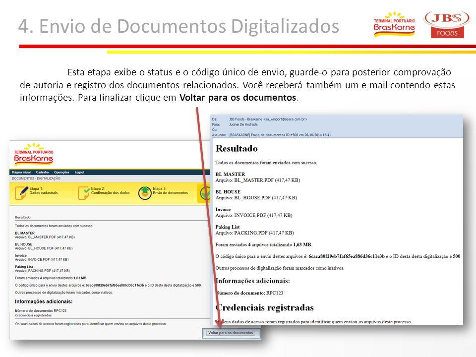 4. Envio de Documentos Digitalizados Esta etapa exibe o status e o código único de envio, guarde-o para posterior comprovação de autoria e registro do