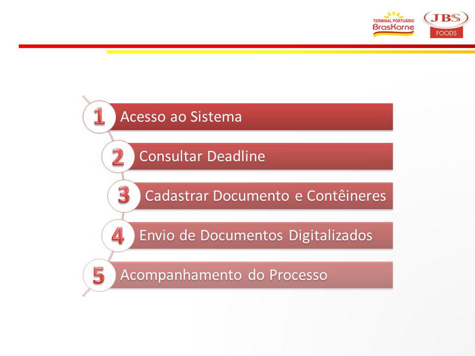 Acesso ao Sistema Consultar Deadline Cadastrar Documento e Contêineres Envio de Documentos Digitalizados Acompanhamento do Processo