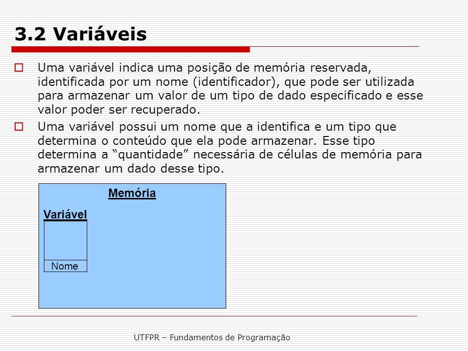 UTFPR – Fundamentos de Programação 3.2 Variáveis  Uma variável indica uma posição de memória reservada, identificada por um nome (identificador), que