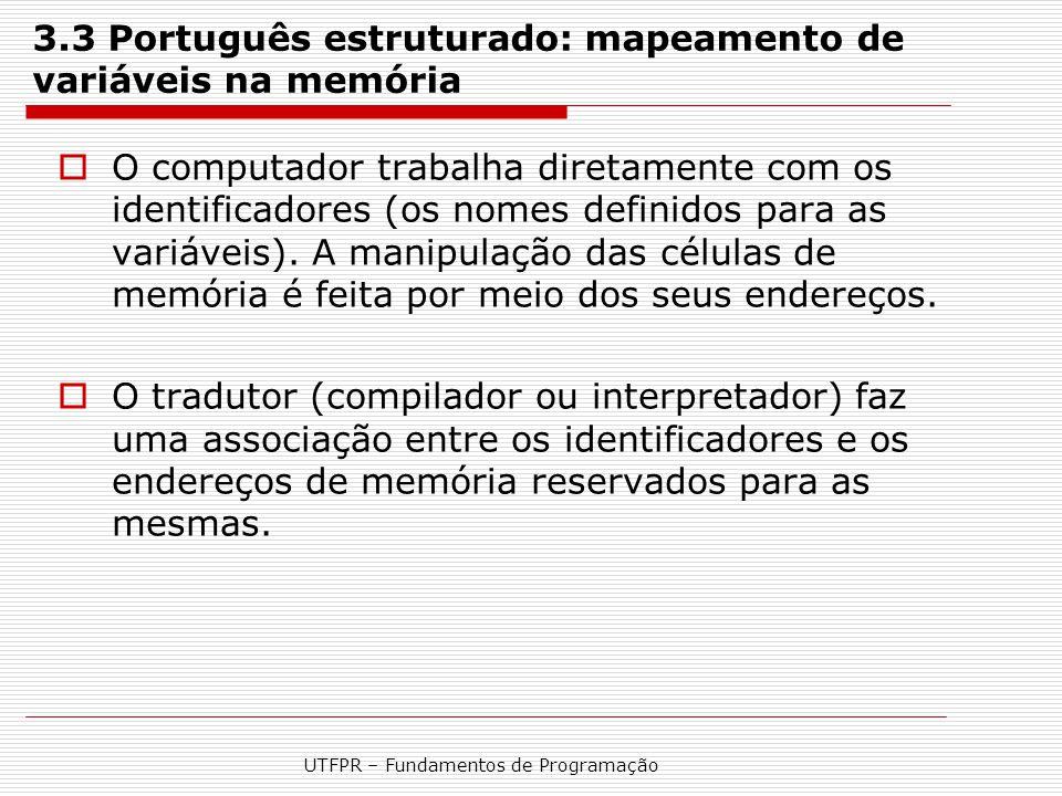 UTFPR – Fundamentos de Programação 3.3 Português estruturado: mapeamento de variáveis na memória  O computador trabalha diretamente com os identifica