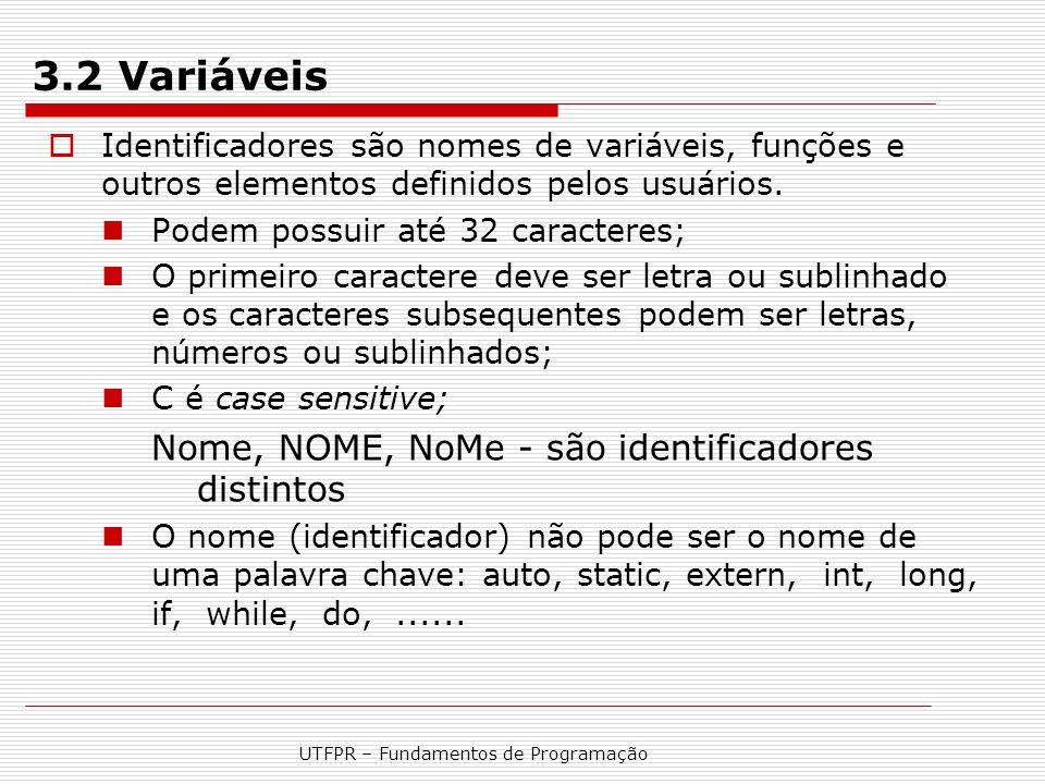 UTFPR – Fundamentos de Programação 3.2 Variáveis  Identificadores são nomes de variáveis, funções e outros elementos definidos pelos usuários. Podem