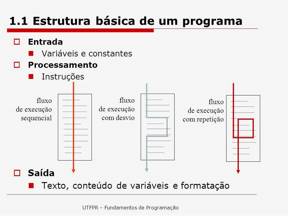 UTFPR – Fundamentos de Programação 2.2.5 Instruções  Instruções terminam sempre com ponto e vírgula (;)  Instrução de atribuição de um valor para uma variável variável = valor; //variável recebe valor Exemplos: a = 3; x = 3+4/2; y= sqrt(3*a);  Instrução para chamada a (uso de) uma função nome_da_função (parâmetros); Exemplos: printf( Informe um valor: ); scanf( %d , &Valor); funcao1(1,Valor, 'r');