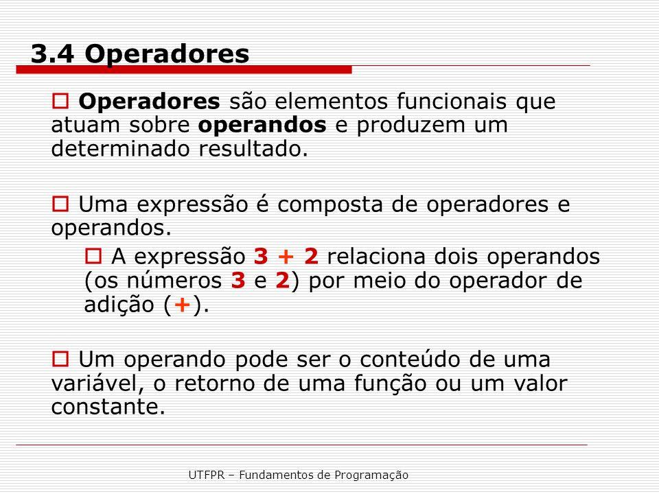 UTFPR – Fundamentos de Programação  Operadores são elementos funcionais que atuam sobre operandos e produzem um determinado resultado.  Uma expressã