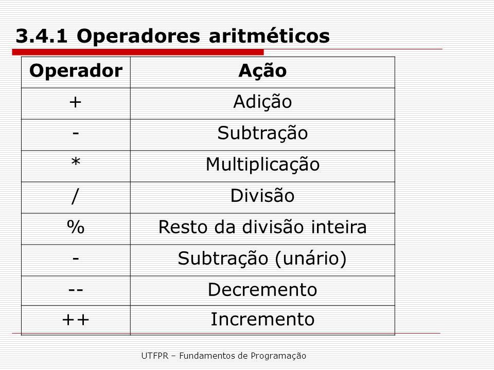 UTFPR – Fundamentos de Programação 3.4.1 Operadores aritméticos OperadorAção +Adição -Subtração *Multiplicação /Divisão %Resto da divisão inteira -Sub