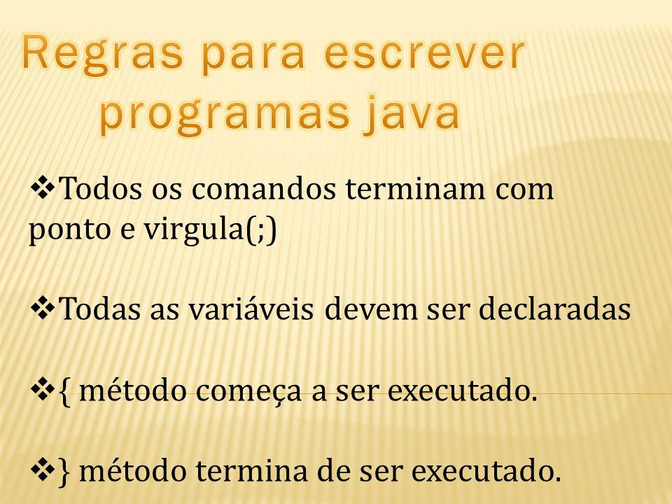  Todos os comandos terminam com ponto e virgula(;)  Todas as variáveis devem ser declaradas  { método começa a ser executado.  } método termina de