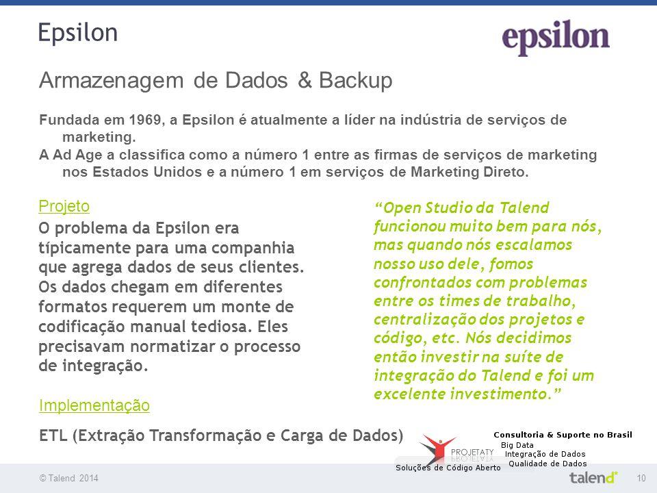 © Talend 201410 © Talend 2010 Epsilon Armazenagem de Dados & Backup Fundada em 1969, a Epsilon é atualmente a líder na indústria de serviços de market