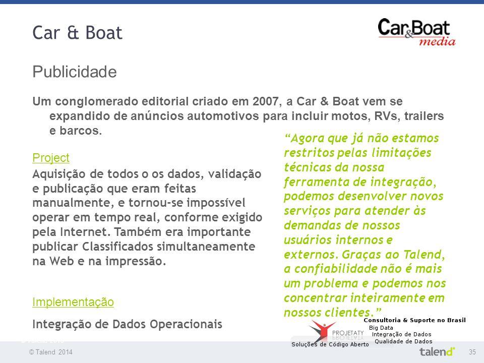 © Talend 201435 © Talend 2010 Car & Boat Publicidade Um conglomerado editorial criado em 2007, a Car & Boat vem se expandido de anúncios automotivos p