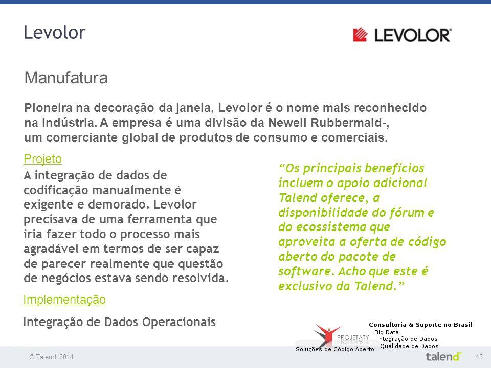 © Talend 201445 © Talend 2010 Levolor Manufatura Pioneira na decoração da janela, Levolor é o nome mais reconhecido na indústria. A empresa é uma divi