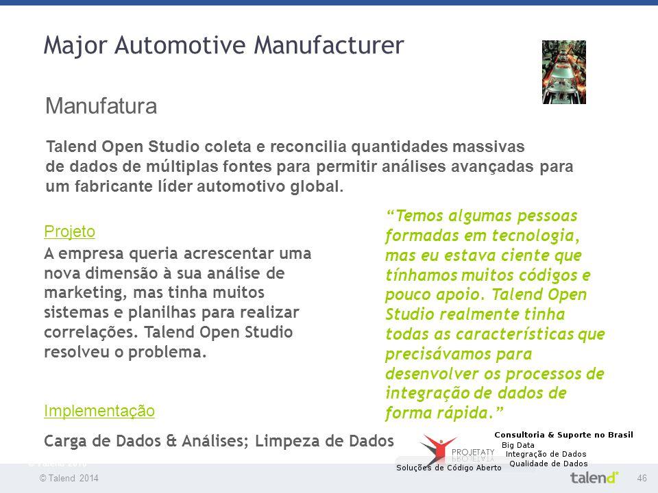 © Talend 201446 © Talend 2010 Major Automotive Manufacturer Manufatura Talend Open Studio coleta e reconcilia quantidades massivas de dados de múltipl