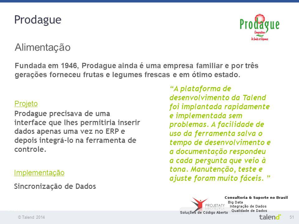© Talend 201451 © Talend 2010 Prodague Alimentação Fundada em 1946, Prodague ainda é uma empresa familiar e por três gerações forneceu frutas e legume