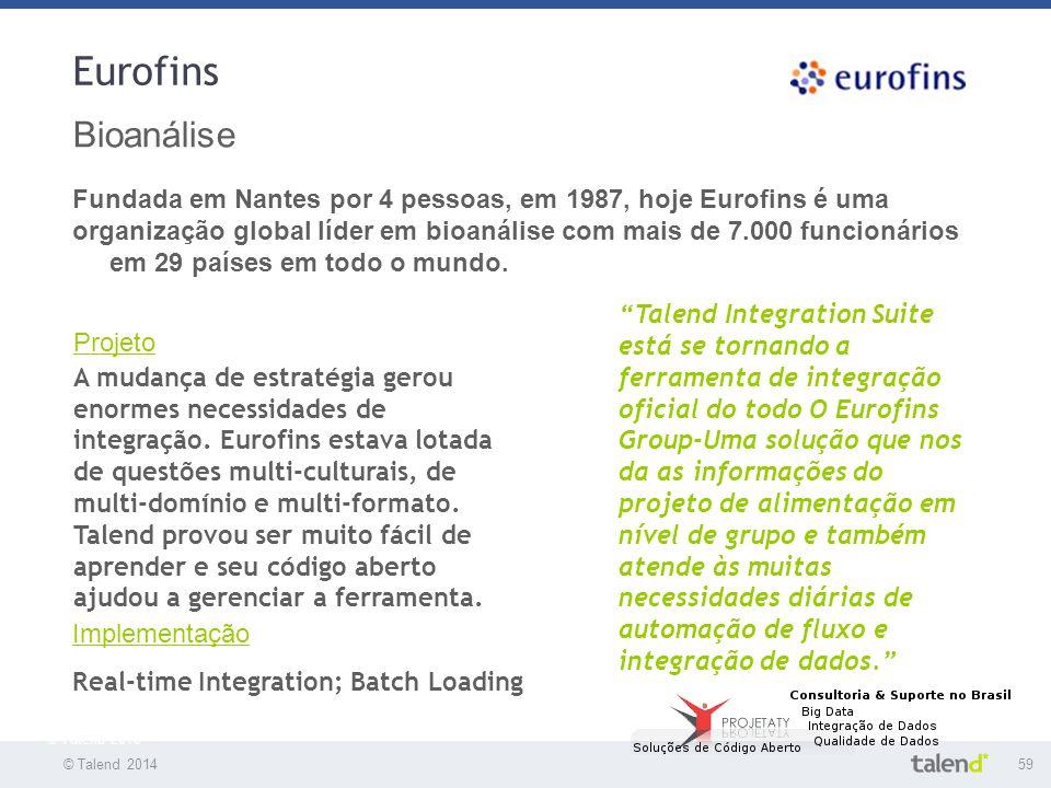© Talend 201459 © Talend 2010 Eurofins Bioanálise Fundada em Nantes por 4 pessoas, em 1987, hoje Eurofins é uma organização global líder em bioanálise