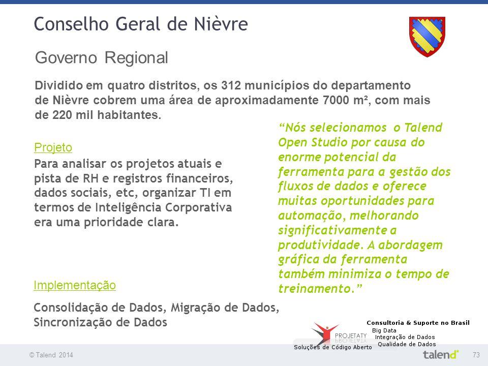 © Talend 201473 © Talend 2010 Conselho Geral de Nièvre Governo Regional Dividido em quatro distritos, os 312 municípios do departamento de Nièvre cobr