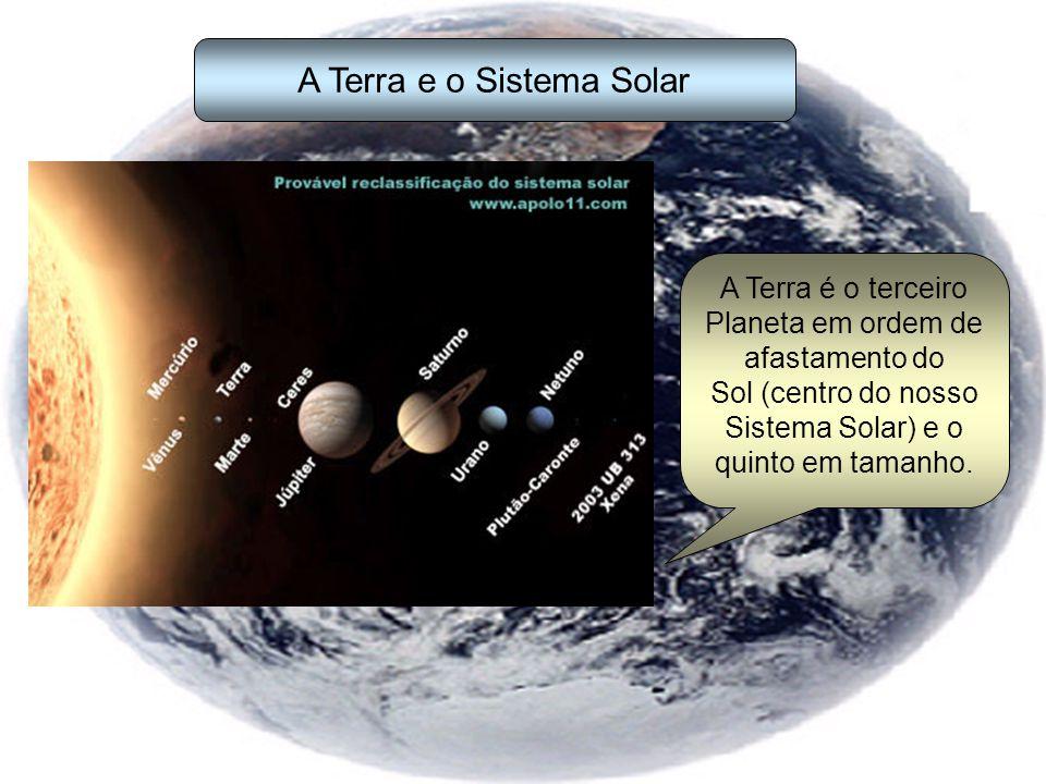 A Terra e o Sistema Solar A Terra é o terceiro Planeta em ordem de afastamento do Sol (centro do nosso Sistema Solar) e o quinto em tamanho.