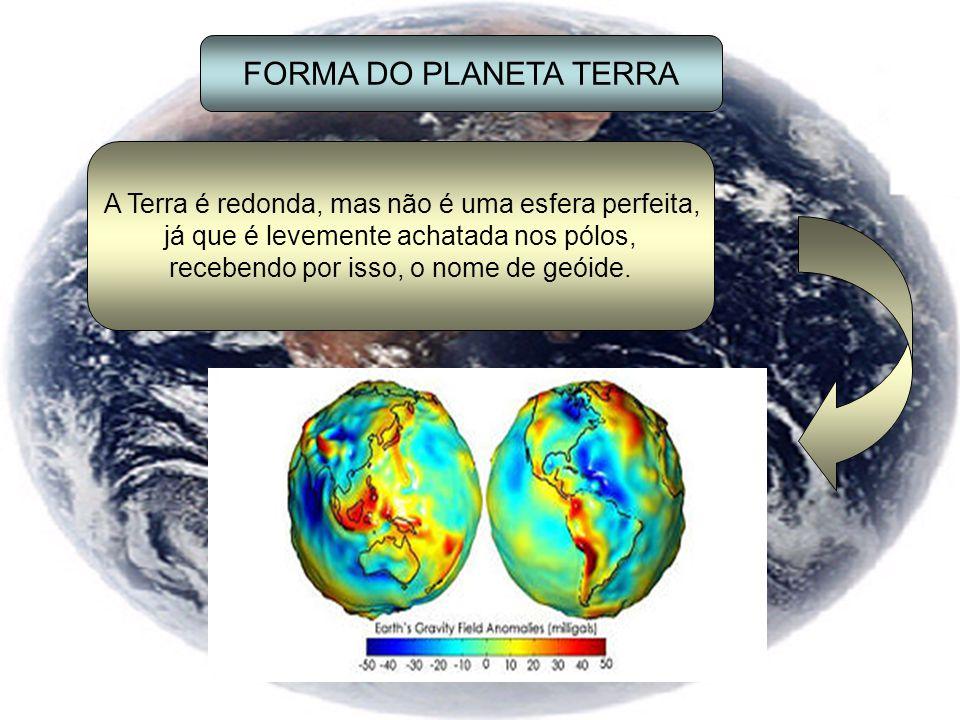FORMA DO PLANETA TERRA A Terra é redonda, mas não é uma esfera perfeita, já que é levemente achatada nos pólos, recebendo por isso, o nome de geóide.