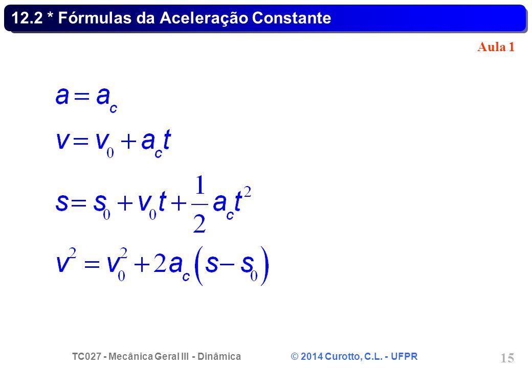 TC027 - Mecânica Geral III - Dinâmica © 2014 Curotto, C.L. - UFPR 15 12.2 * Fórmulas da Aceleração Constante Aula 1
