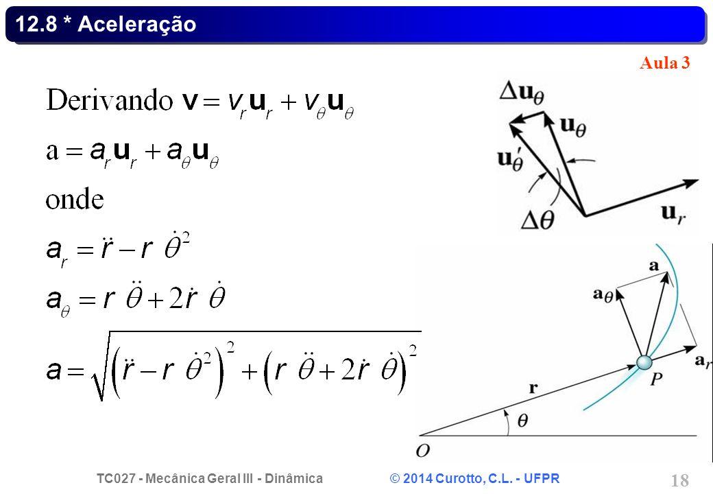 TC027 - Mecânica Geral III - Dinâmica © 2014 Curotto, C.L. - UFPR 18 12.8 * Aceleração Aula 3