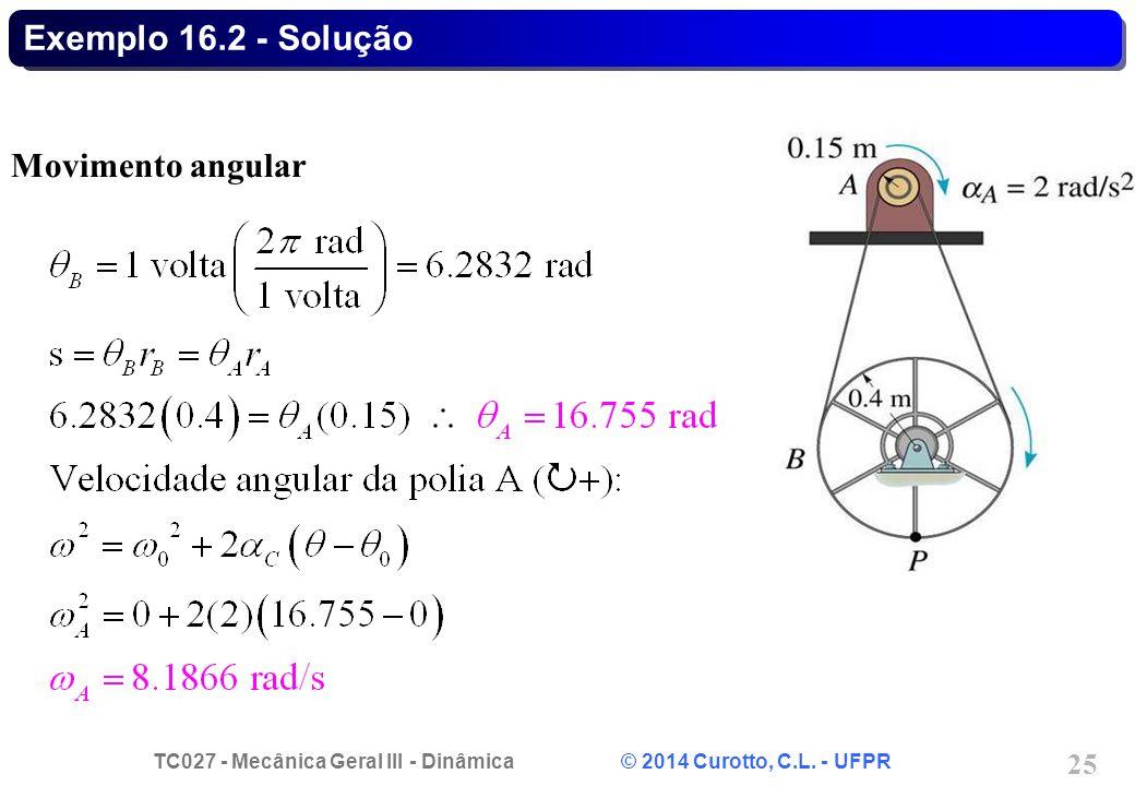 TC027 - Mecânica Geral III - Dinâmica © 2014 Curotto, C.L. - UFPR 25 Exemplo 16.2 - Solução Movimento angular