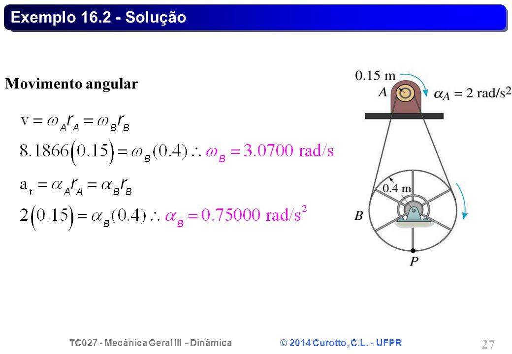 TC027 - Mecânica Geral III - Dinâmica © 2014 Curotto, C.L. - UFPR 27 Exemplo 16.2 - Solução Movimento angular