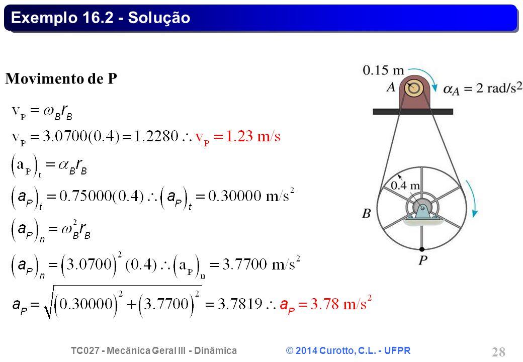 TC027 - Mecânica Geral III - Dinâmica © 2014 Curotto, C.L. - UFPR 28 Exemplo 16.2 - Solução Movimento de P