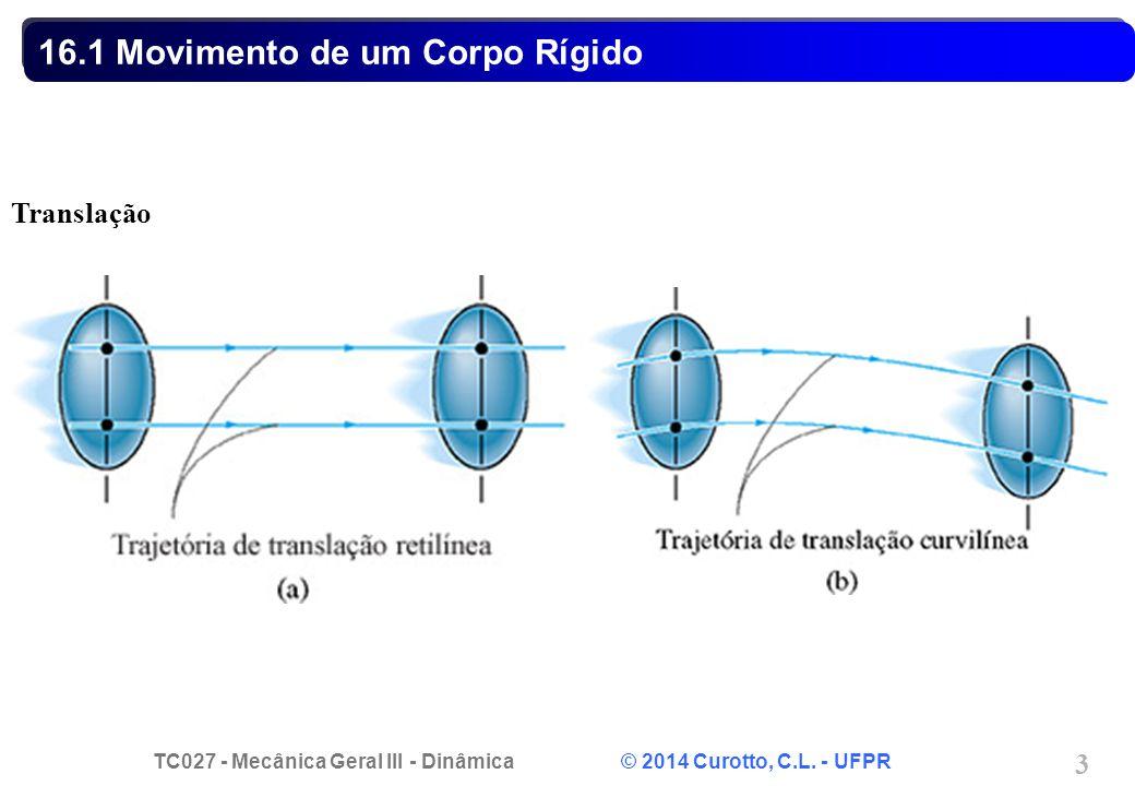 TC027 - Mecânica Geral III - Dinâmica © 2014 Curotto, C.L. - UFPR 3 16.1 Movimento de um Corpo Rígido Translação