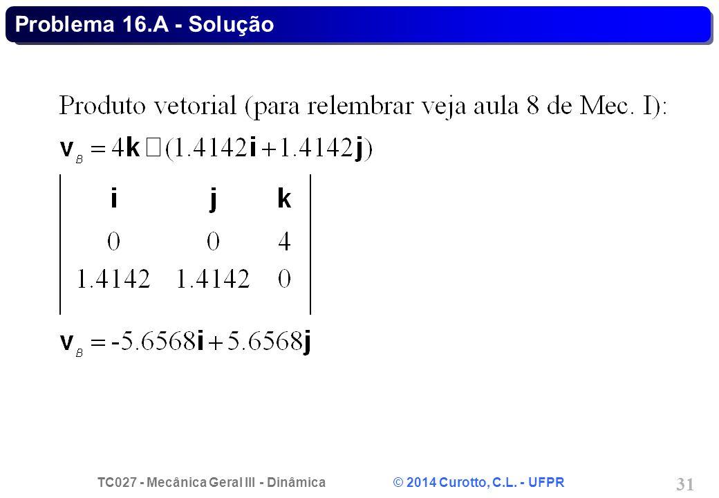 TC027 - Mecânica Geral III - Dinâmica © 2014 Curotto, C.L. - UFPR 31 Problema 16.A - Solução