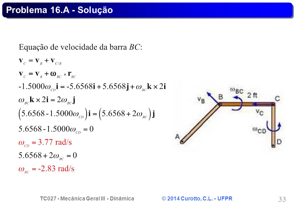 TC027 - Mecânica Geral III - Dinâmica © 2014 Curotto, C.L. - UFPR 33 Problema 16.A - Solução