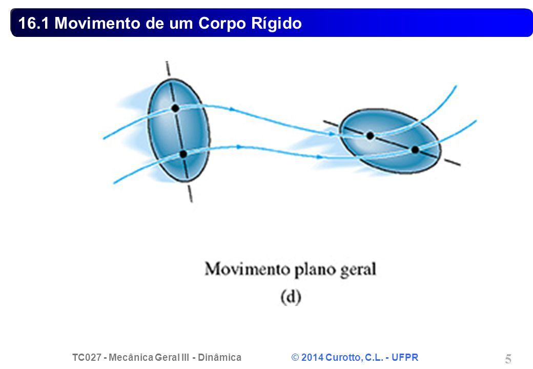 TC027 - Mecânica Geral III - Dinâmica © 2014 Curotto, C.L. - UFPR 5 16.1 Movimento de um Corpo Rígido