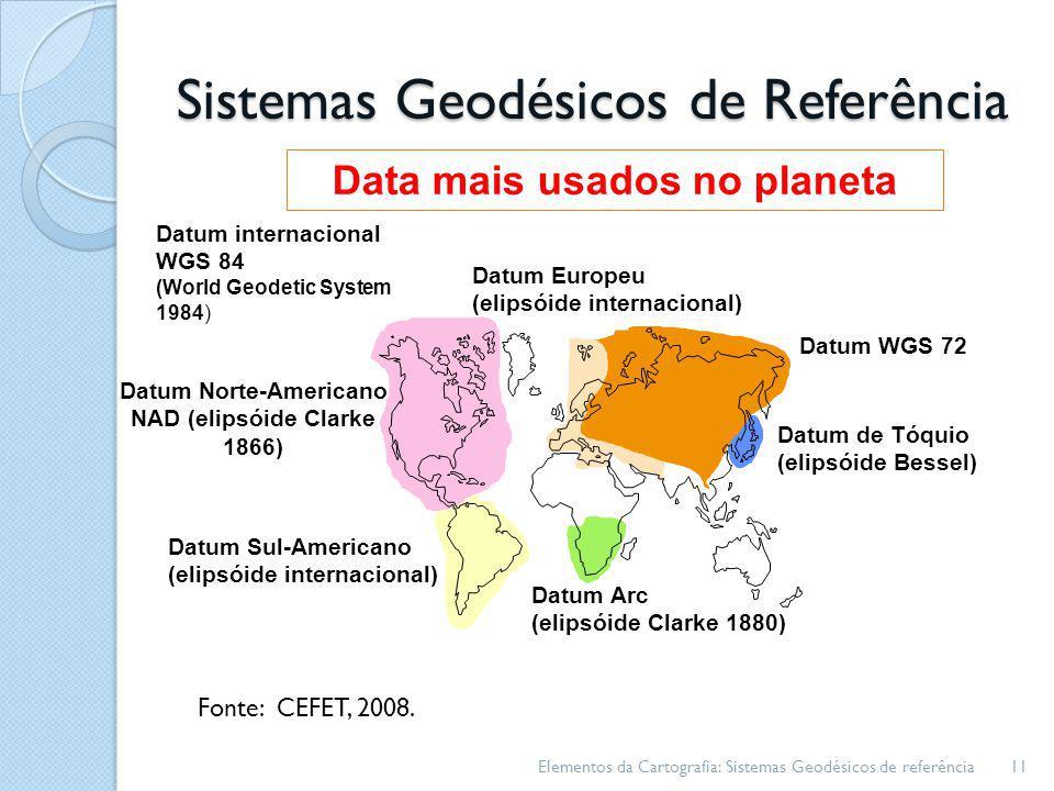 Sistemas Geodésicos de Referência Elementos da Cartografia: Sistemas Geodésicos de referência11 Datum Norte-Americano NAD (elipsóide Clarke 1866) Datu