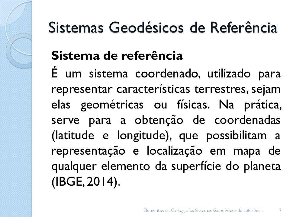 Sistemas Geodésicos de Referência Considerações Elementos da Cartografia: Sistemas Geodésicos de referência8 fica definido pelo posicionamento do elipsóide de referência numa posição rígida em relação à superfície física da Terra e, consequentemente, em relação ao geóide Datum global utilizado na cobertura geral do globo, escolhido de forma a fazer coincidir o centro de massa da Terra com o centro do elipsóide de referência, e o eixo de rotação da Terra com o eixo menor do elipsóide.