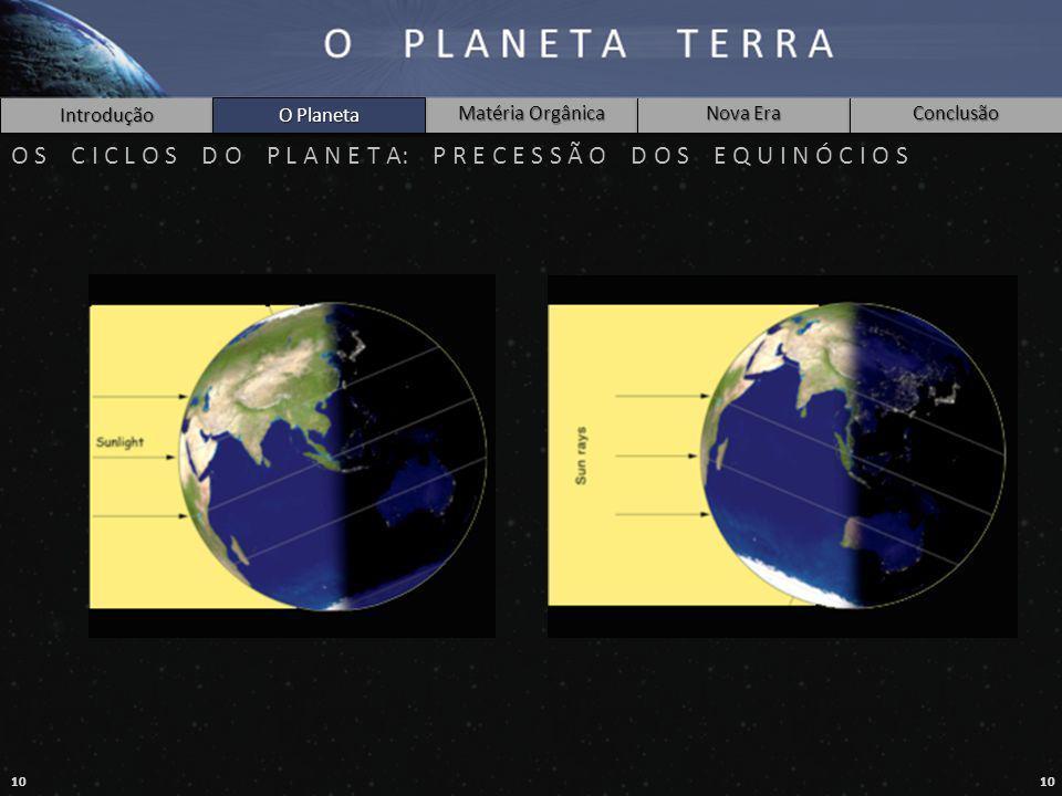 10 Introdução O Planeta Matéria Orgânica Nova Era Conclusão O S C I C L O S D O P L A N E T A: P R E C E S S Ã O D O S E Q U I N Ó C I O S O Planeta