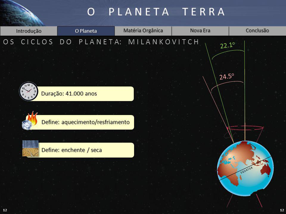12 Introdução O Planeta Matéria Orgânica Nova Era Conclusão O S C I C L O S D O P L A N E T A: M I L A N K O V I T C H 24.5 o 22.1 o O Planeta Duração: 41.000 anos Define: aquecimento/resfriamento Define: enchente / seca