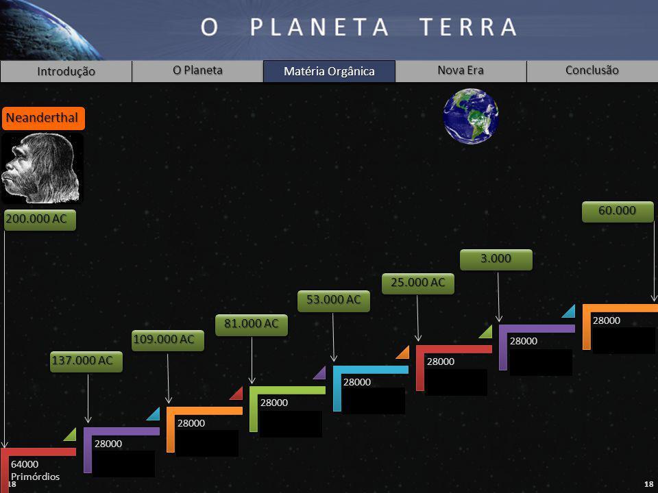 18 Introdução O Planeta Matéria Orgânica Nova Era Conclusão 64000 Primórdios 28000 Raça ??? 28000 Raça Lemuriana 28000 Raça Atlântida 28000 Raça Arian