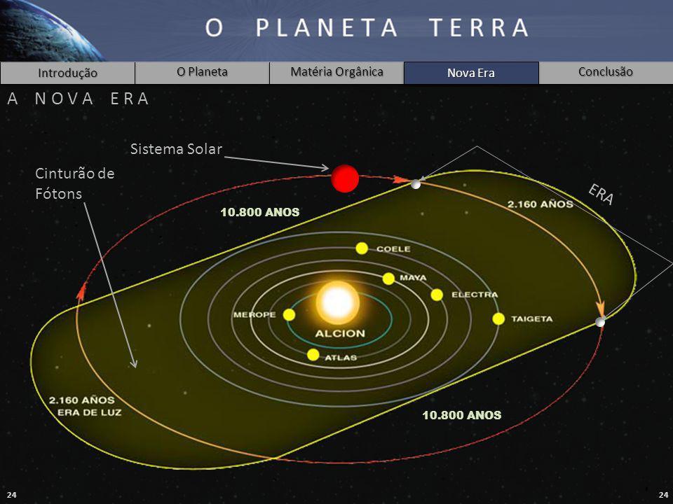 24 Introdução O Planeta Matéria Orgânica Nova Era Conclusão A N O V A E R A 10.800 ANOS Cinturão de Fótons ERA Sistema Solar Nova Era