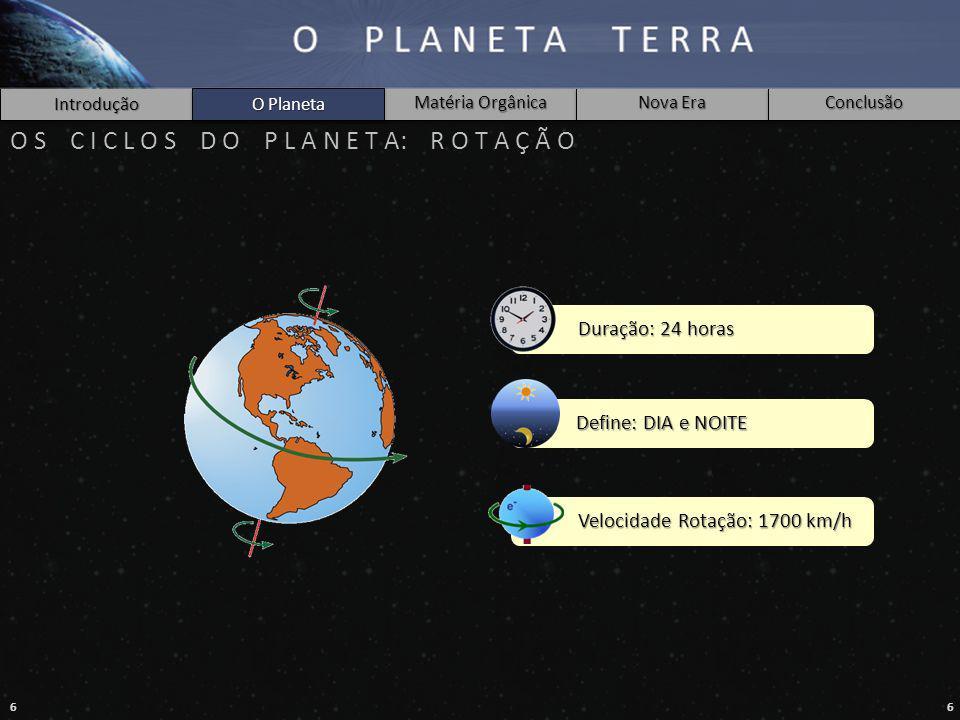 66 Introdução Matéria Orgânica Nova Era Conclusão O Planeta O S C I C L O S D O P L A N E T A: R O T A Ç Ã O Duração: 24 horas Define: DIA e NOITE Velocidade Rotação: 1700 km/h