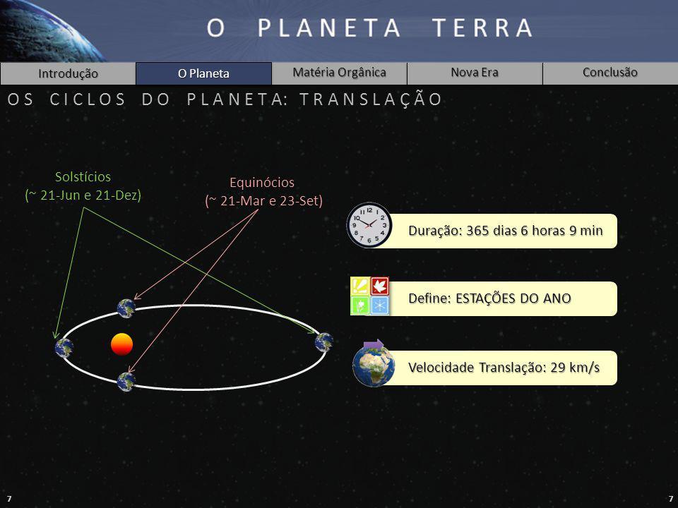 77 Introdução O Planeta Matéria Orgânica Nova Era Conclusão Equinócios (~ 21-Mar e 23-Set) Solstícios (~ 21-Jun e 21-Dez) O Planeta O S C I C L O S D