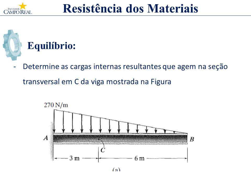 Equilíbrio: -Determine as cargas internas resultantes que agem na seção transversal em C da viga mostrada na Figura Resistência dos Materiais