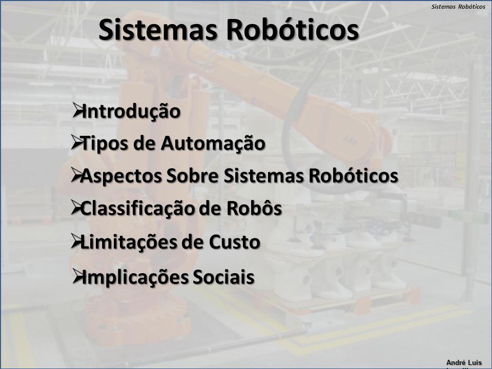 Sistemas Robóticos André Luis Lapolli Sistemas Robóticos  Introdução  Tipos de Automação  Aspectos Sobre Sistemas Robóticos  Classificação de Robô