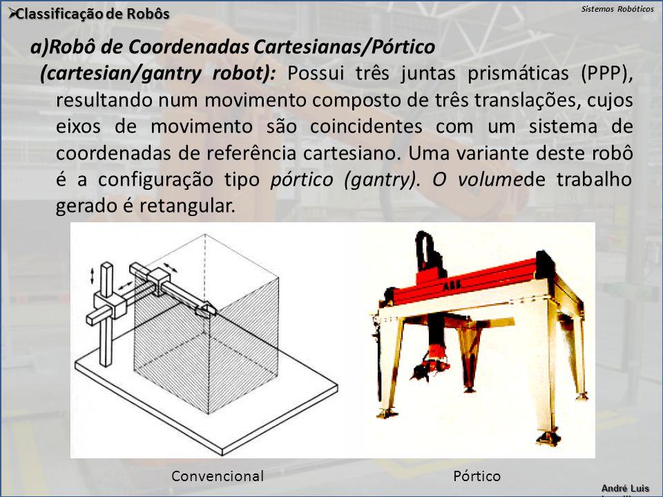 Sistemas Robóticos André Luis Lapolli a)Robô de Coordenadas Cartesianas/Pórtico (cartesian/gantry robot): Possui três juntas prismáticas (PPP), result