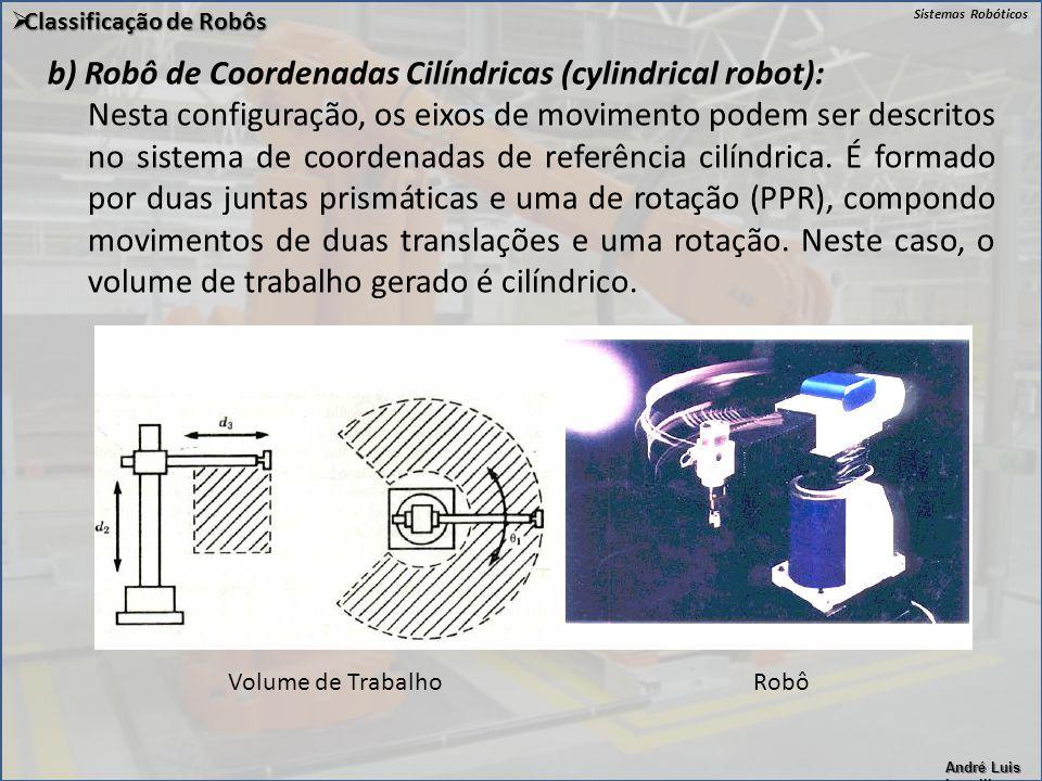 Sistemas Robóticos André Luis Lapolli  Classificação de Robôs b) Robô de Coordenadas Cilíndricas (cylindrical robot): Nesta configuração, os eixos de