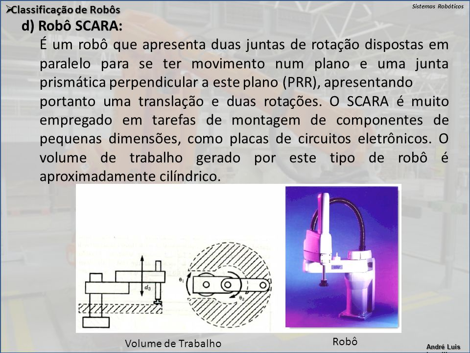 Sistemas Robóticos André Luis Lapolli  Classificação de Robôs d) Robô SCARA: É um robô que apresenta duas juntas de rotação dispostas em paralelo par