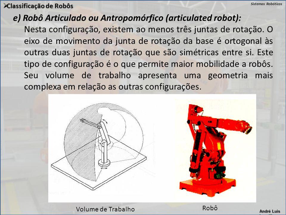 Sistemas Robóticos André Luis Lapolli  Classificação de Robôs e) Robô Articulado ou Antropomórfico (articulated robot): Nesta configuração, existem a