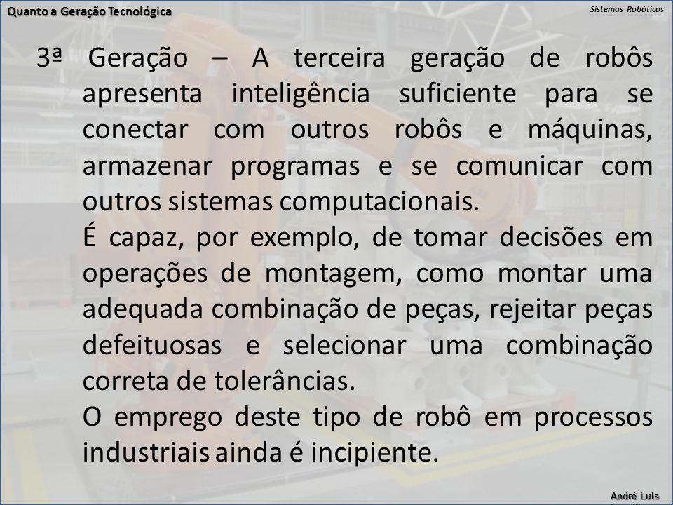 Sistemas Robóticos André Luis Lapolli 3ª Geração – A terceira geração de robôs apresenta inteligência suficiente para se conectar com outros robôs e m