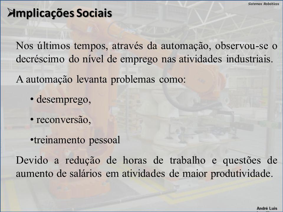 Sistemas Robóticos André Luis Lapolli Nos últimos tempos, através da automação, observou-se o decréscimo do nível de emprego nas atividades industriai