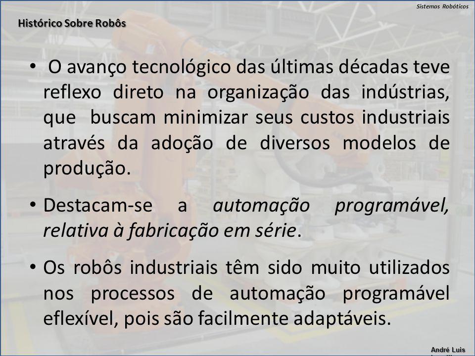 Sistemas Robóticos André Luis Lapolli O avanço tecnológico das últimas décadas teve reflexo direto na organização das indústrias, que buscam minimizar