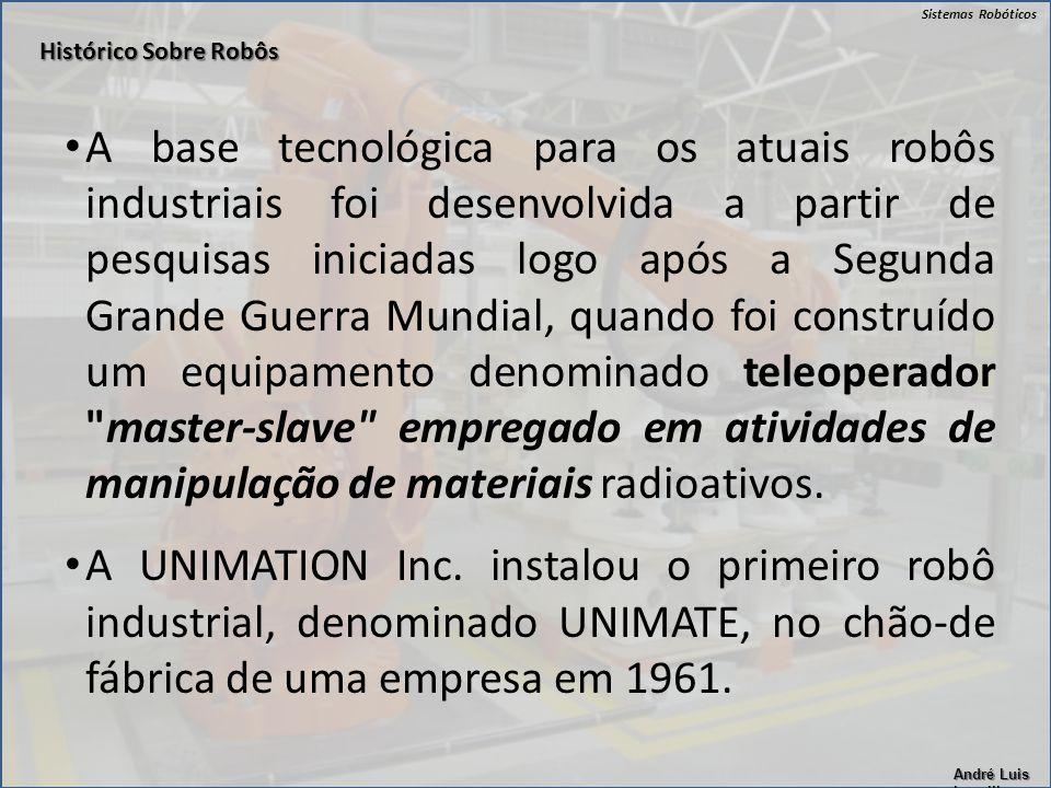 Sistemas Robóticos André Luis Lapolli A base tecnológica para os atuais robôs industriais foi desenvolvida a partir de pesquisas iniciadas logo após a