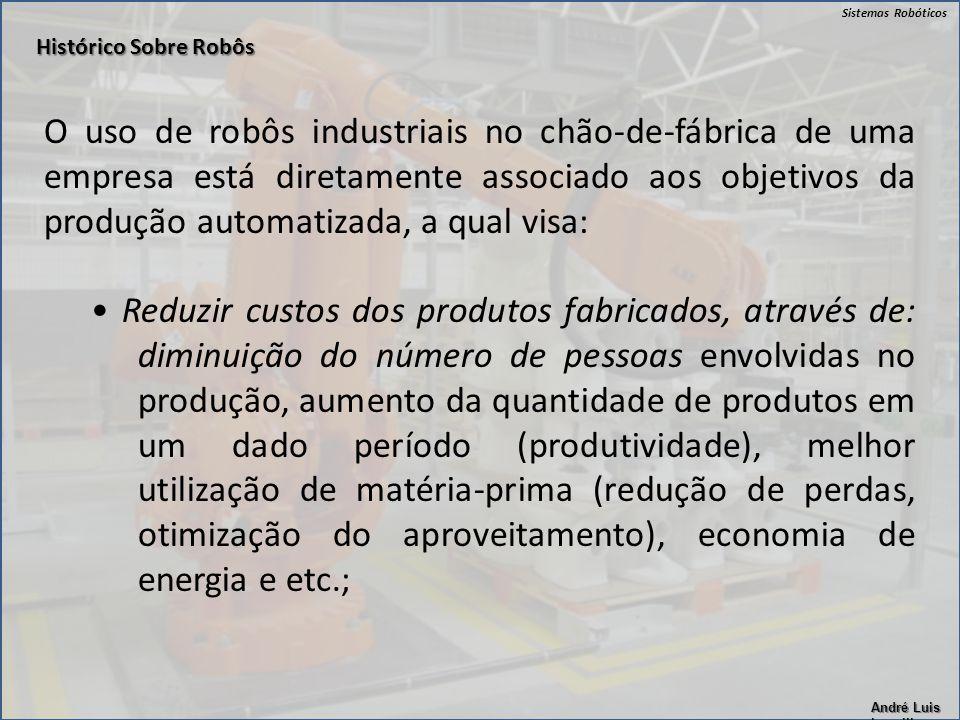 Sistemas Robóticos André Luis Lapolli O uso de robôs industriais no chão-de-fábrica de uma empresa está diretamente associado aos objetivos da produçã